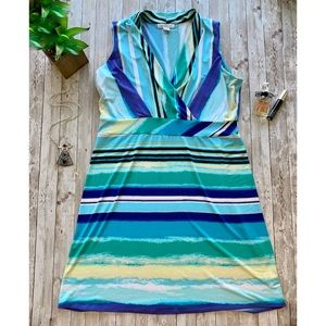 Liz Claiborne sleeveless striped v neck dress